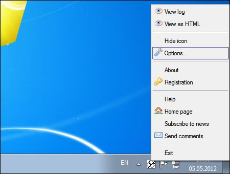 Family Key Logger XP TaskTray menu